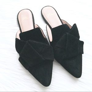 J. Crew Pointed Toe Slides In Black Suede Size 9.5